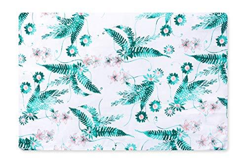 Amilian Bezug (ohne Füllung) für Deko Kissen 60x40 Kissenbezug mit Reißverschlus, fürs Baby, Kinderzimmer 100% Baumwolle Muster: Farnblühte Grün