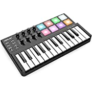 ammoon MIDI Keyboard Controller 25 Key MINI WORLDE Panda Ultra-Portable USB 8 Colorful Backlit Trigger Pads