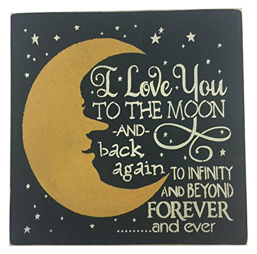 """Sara's Signs Handpainted 12""""x12"""" Wood Sign I Love You to The Moon and Back Again to Infinity and Beyond Forever and Ever"""