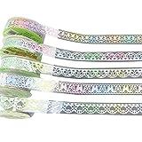 Umiusiyun 7 Rollen Gradient Lace Tape Sticker, Multicolor Lace Pattern Glitter Selbstklebend für...