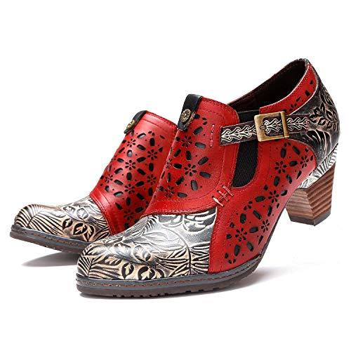 CrazycatZ Damen Leder Pumps Bunte Schuhe Stiefeletten mit Absätzen Blumen Handgefertigte Vintage Patchwork (39 EU, ROT)