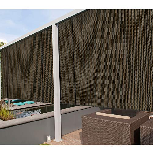 Coarbor Outdoor Roll up Shades Blinds for Porch Patio Shade Exterior Roller Shade Privacy Shade Screen for Deck Pergola Gazebo Brown 8'W x 6'H