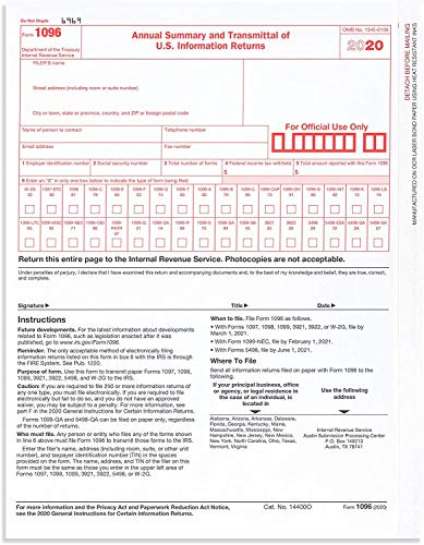 1096 Transmittal 2020 Tax Forms, 25 Pack of 1096 Summary Laser Tax Forms 1096 Forms, Compatible with QuickBooks and Accounting Software