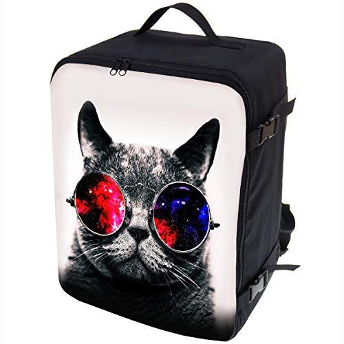 Multifunktions Handgepäck Rucksack gepolstert Flugzeugtasche Handtasche Reisetasche Rucksack gepolstertkoffer für Flugzeug Größe 40x30x20cm Galaxy Sonnenbrille Cat [102]