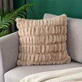 OJIA Soft Ruched Faux Fur Euro Throw Pillow Cover, Luxury Series Cushion Cover Decorative Fuzzy Pillowcase Sham for Sofa Chair Couch Bed (18 x 18 inch, Khaki)
