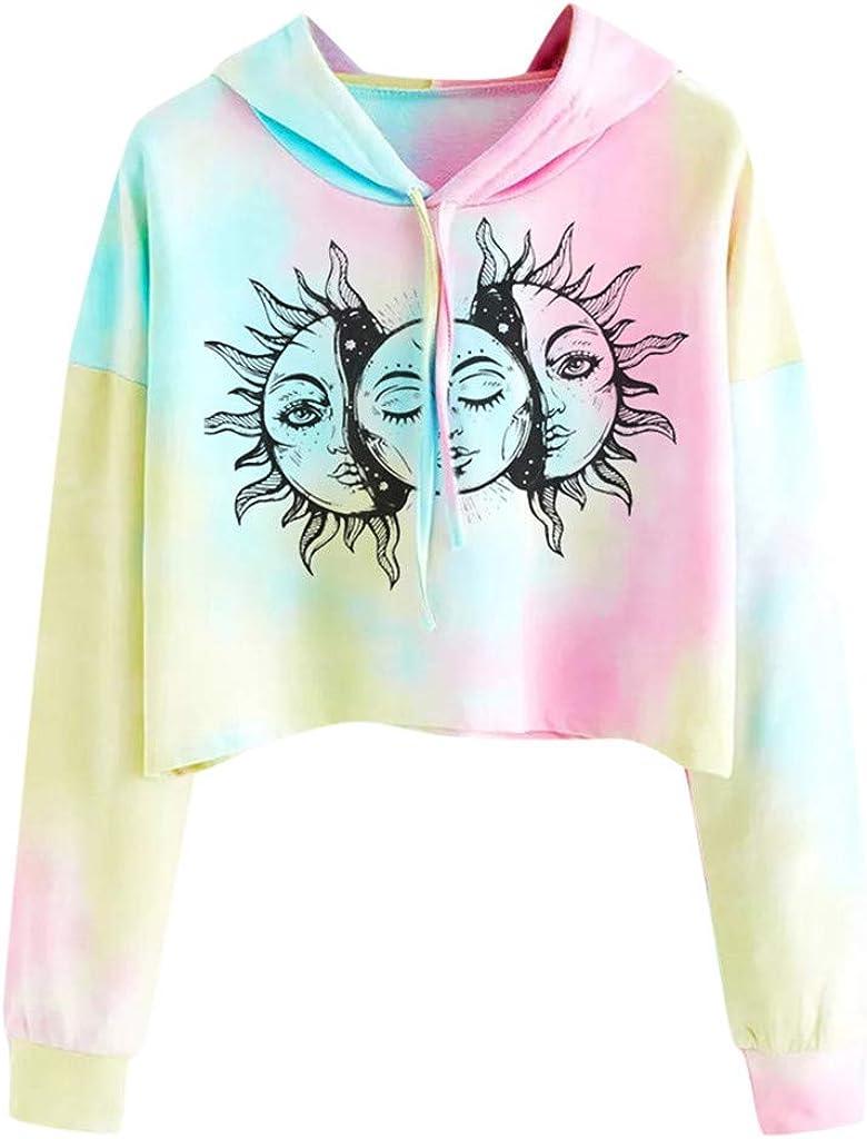 Crop Hoodie for Women Iightweight Teen Girls Tie Dye Color Block Crop Top Cute Graphic Long Sleeve Pullover Shirts