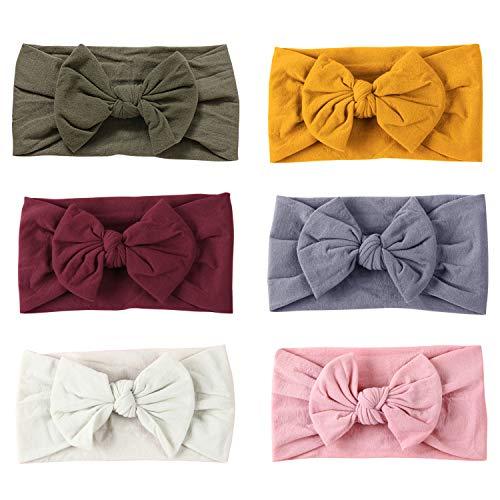 De feuilles Baby Stirnband Mädchen 6 Stücke Stirnbänder Knoten Stirnband Elastisch Schleifen Turban Haarband Knit Head Wraps
