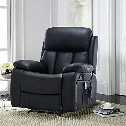 ADHW Recliner Armchair Electric Heated Leather Upholstered Massage Sofa Chair Lounger