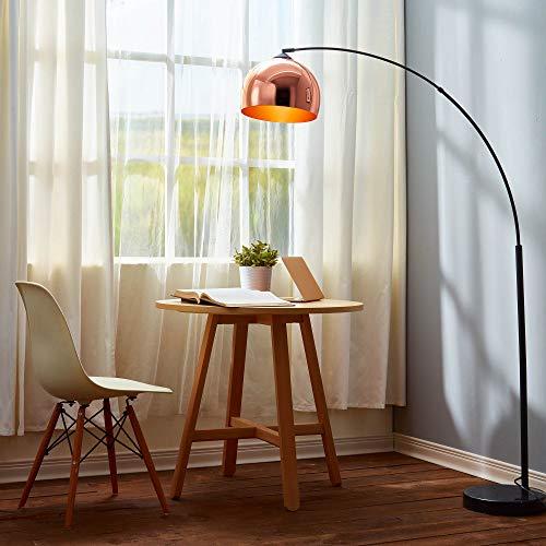 Versanora Arquer Lámpara de Piso Arco con Sombra y Base de Mármol, 50 W, Oro Rosa y Negro, 31x110x174cm