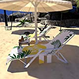 Beach Chair Cover, Chaise Lounge Towel Cover Pool Sunbathing Lounge Chaise Recliner Cover Towel with Side Pockets, Sun Lounger, Hotel, Vacation