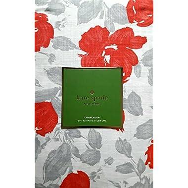 Kate Spade Garden Rose Tablecloth Grey Coral 60 x 102 in, 100% cotton