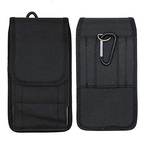 ABCTen Funda Universal con Clip de Cinturón para Xiaomi Redmi 7 / Redmi Note 7 / Mi 9/9 SE/Mi Play Smartphone Carcasa Vertical/Horizontal Nylon Bolsa de la Cintura Cover Negro