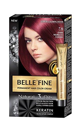 BELLE'FINE® Black Series - Luxuriöse natürliche Haarfärbecreme - langanhaltende Farbe - mit 3 Ölen & Keratin - DUNKLES KIRSCHROT