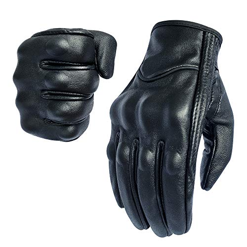 Full finger Goat Skin Leather Touch Screen Motorcycle Gloves Men S,M,L,XL,XXL (Non-Perforated, L)