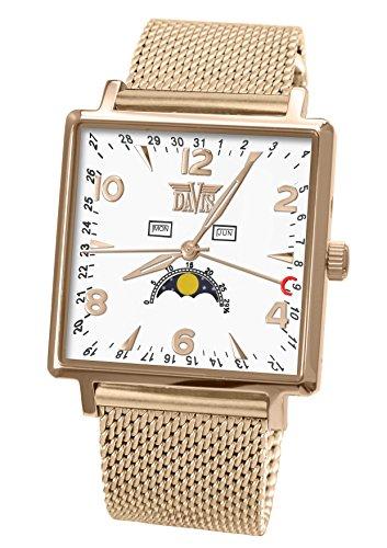 Davis 1736MB herenhorloge maanfase, vierkant, staal, roodgoud, drievoudige datum, witte wijzerplaat, Milanese armband