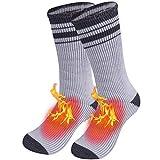 Thermal Snowboading Socks,JSPA Winter Work Heavy Extra Warm Walking Warm Feet Socks for Cold Weather,Fuzzy Heated Skiing Indoor Sleeping Slipper Socks 1 Pair Light Grey with Stripes Medium