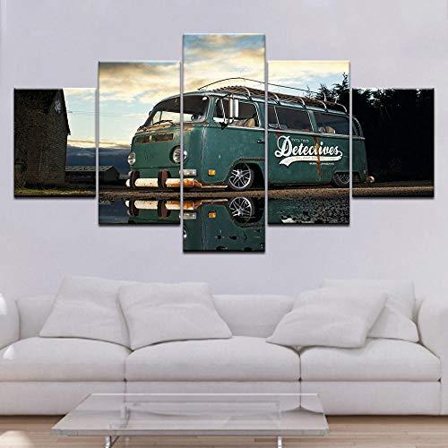 Moderne Kunstwerk Home Wall Art Decor Frame Foto HD Prints 5 Stuks Retro Volkswagen Bus Auto Schilderij Op Canvas Retro Poster-maat-C