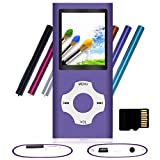 Tomameri - Portable MP3 / MP4 Player with Rhombic Button, Including a 16 GB Micro SD Card and Support Up to 64GB, Compact Music, Video Player, Photo Viewer Supported - Purple
