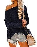 Auxo Blusas con Hombros Descubiertos para Mujer Blusas con Manga murciélago Jersey de Gran tamaño Informal Jersey de Punto Azul Marino XXL