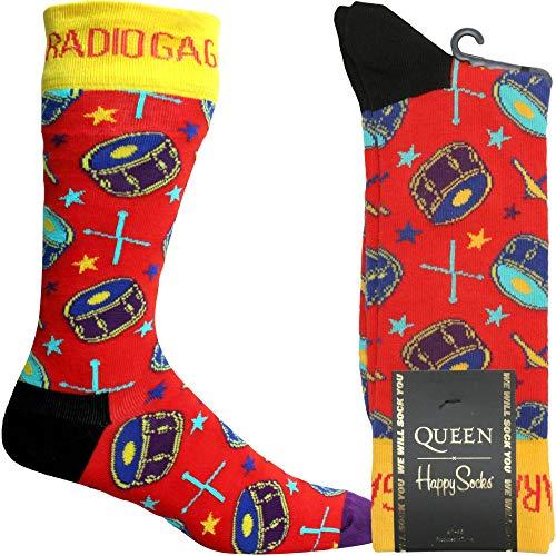 Happy Socks Queen Radio Ga Ga Calcetín, Rojo Pequeño/medio
