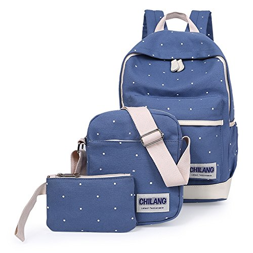 Minetom 3 Pezzi Plus Messenger Bag Frizione Tela Borsa A Zainetto Donna Spalla Zaini Femminili Scuola Superiore Zainetti Ragazze Blu One Size(27*44*15 Cm)