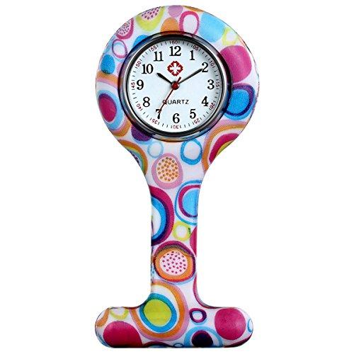 Lancardo Reloj de Bolsillo de Silicona Reloj Médico de Doctor Enfermera Paramédico Prendedor de Broche Uniforme con Dibujos Multicolores Dial Desmontable Movimiento de Cuarzo (Rosa Roja)