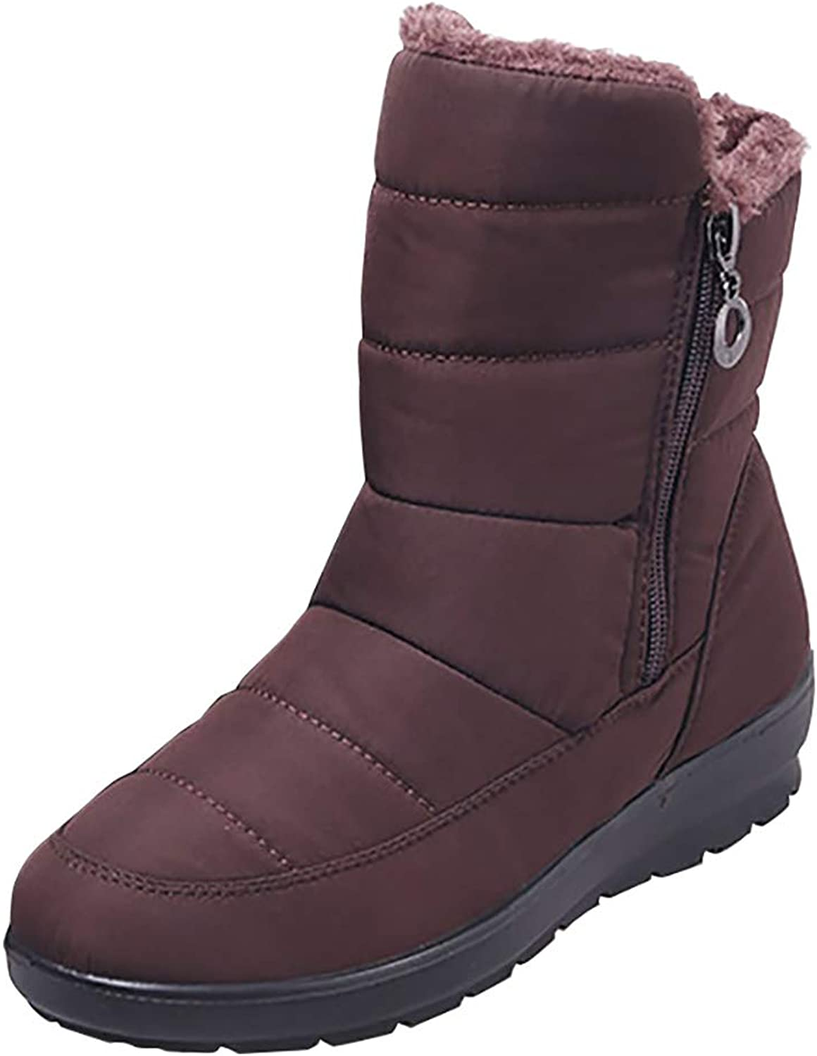 Odema Women's Winter Mid-Calf Snow Boots Fur Lined Outdoor Waterproof Sneakers
