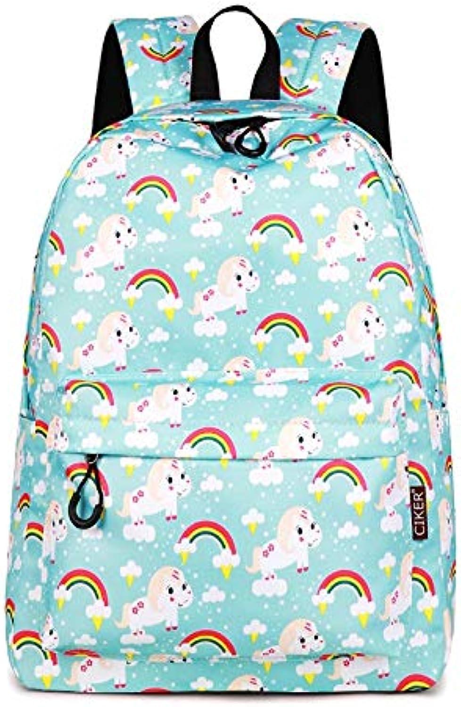 Taweo Ladies 16.8L Backpack White Horses Printing Zipper Casual School Bag for Women Waterproof White (color   4)