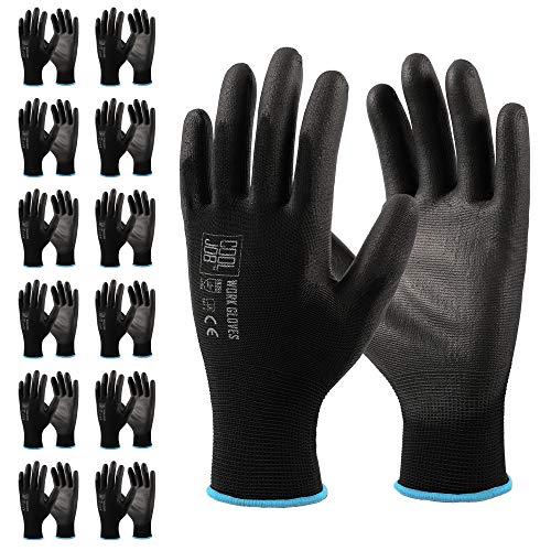 COOLJOB Polyurethane (PU) Coated Safety Work Gloves, 12 Pairs Working Gloves with Grip, One Dozen Bulk Pack, Black, X-Large Size (12 Pairs XL)