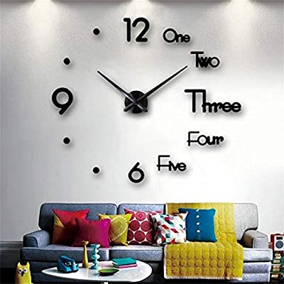 3D DIY Wall Clock Large Frameless Mirror Wall Clocks for Living Room Home Office Decoration Gift
