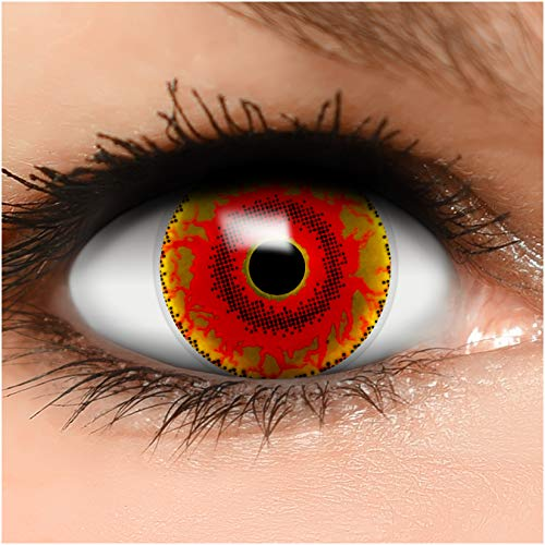 Farbige Kontaktlinsen Red Monster in rot braun + Behälter - Top Linsenfinder Markenqualität, 1Paar (2 Stück)