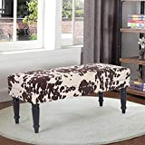 Joveco 39'' Mid Century Modern Bench- End of Bed Bench Dining Bench Ottomans with Rivet- Upholstered Small Bed Bench Coffee Table Ottoman for Bedroom Entryway and Living Room (Brown Milk Cow)