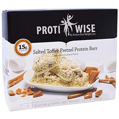 ProtiWise - Salted Toffee Pretzel High Protein Diet Bars   84 Bars/12 Boxes   Very Low Carb, Low Calorie, Low Fat, Gluten Free, Low Sugar