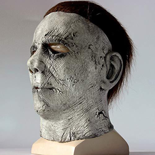 Sxgyubt Maske Scary Michael Myers Maske Latex Kopfbedeckung für Halloween Cosplay Rollenspiele Spaß Halloween Party Dekoration