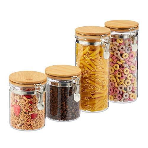 Relaxdays Vorratsgläser, 4er Set, Glas, Bambus Deckel, Bügelgläser für Küche, luftdicht, 2 Größen 1,5 l & 750 ml, klar