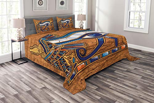 Lunarable Egyptian Print Bedspread, Egyptian Art Papyrus Depicting Eye Mosaic Style Design, Decorative Quilted 3 Piece Coverlet Set with 2 Pillow Shams, King Size, Navy Blue