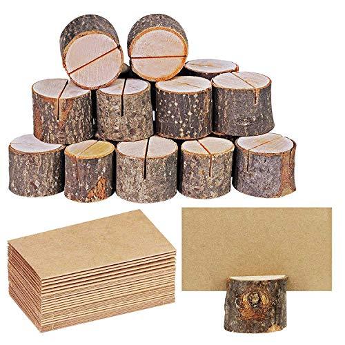 Bestlymood - Caja de cartón de madera de estilo rústico con soporte digital para notas de madera, soporte para tarjetas de fotos, clip y tarjetas de colocación de papel kraft