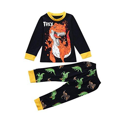 BYSTE Neonato Manica Lunga Pigiama Bambino Cartone Animato Dinosauro Stampa Camicie + Pantaloni Lunghi del Fumetto Messi (Marina Militare, 3 Anni)