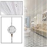 Htoyes cortina de hilos con cuentas decorativas de, para puertas, pared, ventanas, divisor de habitaciones, cafeterías, etc (blanco)