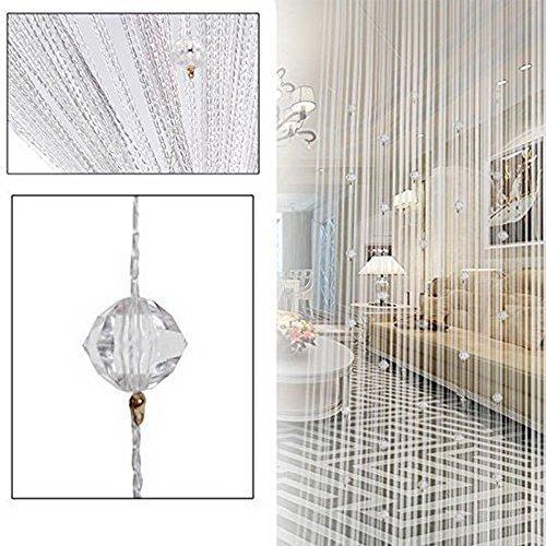 HTOYES Dekorativer Fadenvorhang mit Perlen, Wandvorhang, Schaufensterdekoration, Raumteiler, für Hochzeit, Café, Restaurant, mit Kristallquaste, Innendekoration (Weiß)