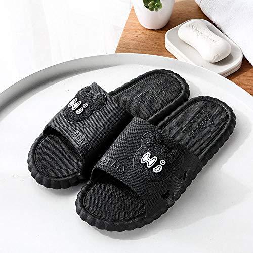 B/H Zapatillas de casa de Fondo Suave,Verano Antideslizante Sandalias de Fondo Suave, Zapatillas de baño de Masaje-Negro 1_41-42