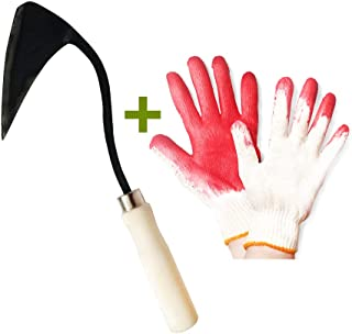 Best Quality Handmade Ho Mi - Korean Style Garden Hoe Weeding Hand Forged Steel Gardening Tool And String Knit Red Palm Latex Dipped Working Gloves