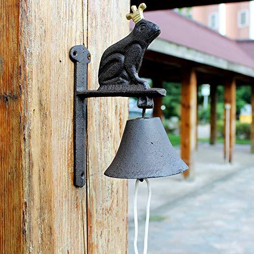 Ringdoors Glocke Für Landhaus,Retro Gusseisen Welcome Handglocke, Hof Garten Wanddekoration Handglocke Türklingel Eröffnung Geschenk/Shop Dekoration - Froschkönig
