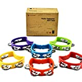 MUSICUBE Tambourine for Adults Kids 6 Pcs Plastic Percussion Tambourine with 4 Bells Hand Bell Musical Toys for Toddler Musical Rhythm Instrument for Kindergarten, Family and School Party Supplies