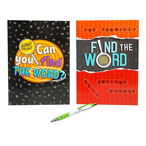 80 Page Word Search Word, Find The Word Puzzle Books with Pen | Large Print Puzzle Booklets with Pen (2 Pack)