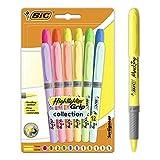BIC Highlighter Grip Marcadores de Punta Biselada Regulable - Colores en Tonos Intensos y Pastel, Pack de 12