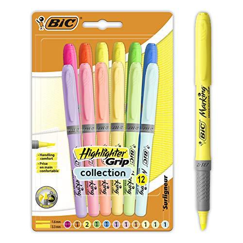 BIC Highlighter Grip Marker mit abgeschrägter Spitze, verstellbar, Farben in intensiven und Pastelltönen 12 Stück