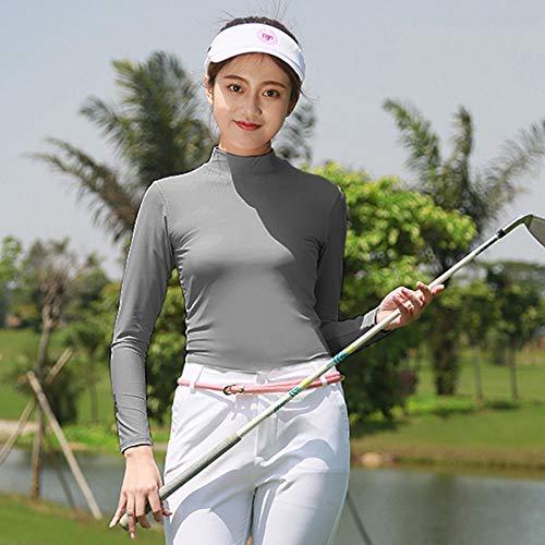 Mhwlai Frauen Golf T-Shirt, Sommerkompression Frauen Sonnenschutz Langarm T-Shirt Slim Sportswear Größe S-XXL,Grau,XXL