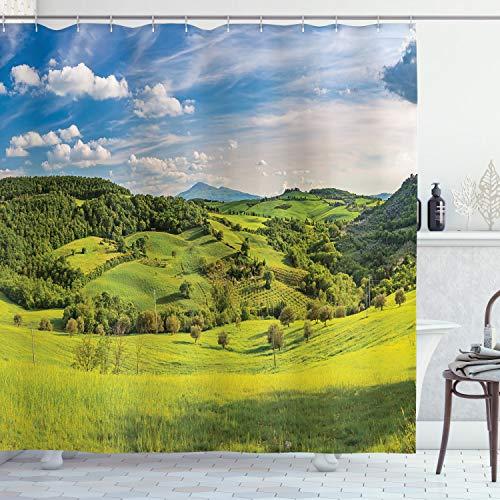 ABAKUHAUS Landschaft Duschvorhang, Toskana Italien Bauernhöfe, mit 12 Ringe Set Wasserdicht Stielvoll Modern Farbfest & Schimmel Resistent, 175x180 cm, Apfelgrün Himmelblau