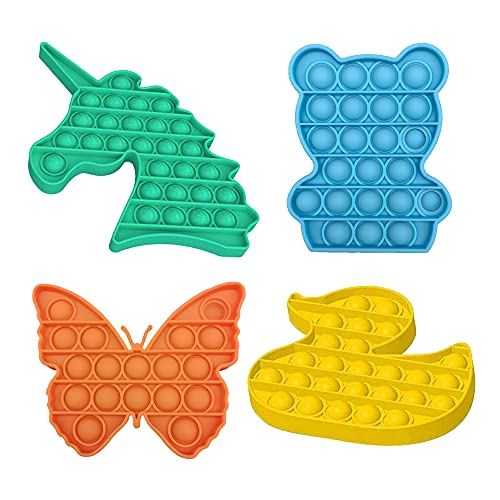 Push Pop Bubble Fidget Sensory Toy 4 Packs - Bubble Pop Fidget Toy Pack - Kids Popper Fidget Toy Set